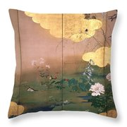 Flowers And Birds Of The Four Seasons Throw Pillow