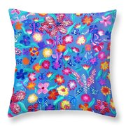 Flowers And Butterflies Throw Pillow