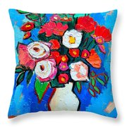 Flowers And Colors Throw Pillow by Ana Maria Edulescu