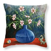 Flowers And Dragon Throw Pillow