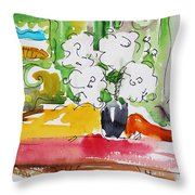 Flowers And Green Wall Throw Pillow