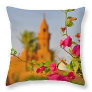 Flowers And Mosque Throw Pillow by George Paris
