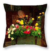 Flowers And Shovel On An Old Drill Truck Throw Pillow