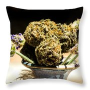 Organic Flowers And Vase Throw Pillow