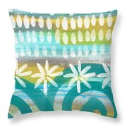 Flowers And Waves- Abstract Pattern Painting Throw Pillow