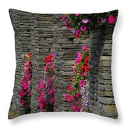 Flowers At Liscannor Rock Shop Throw Pillow