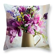 Flowers At The Post Office Throw Pillow