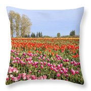Flowers Blooming In Tulip Field In Springtime Throw Pillow