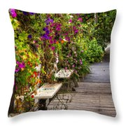 Flowers By A Bench  Throw Pillow