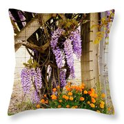 Flowers By The Gate Throw Pillow