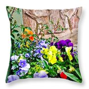 Flowers By The Wall Throw Pillow