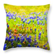 Flowers Field Background Throw Pillow