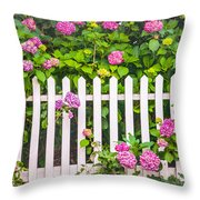 Flowers - Floral - White Picket Fence Throw Pillow