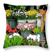 Flowers For Sale In Marketplace In Tachilek-burma Throw Pillow