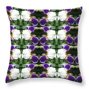 Flowers From Cherryhill Nj America White  Purple Combination Graphically Enhanced Innovative Pattern Throw Pillow