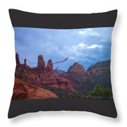 Flowers Front Of Twin Rocks Throw Pillow