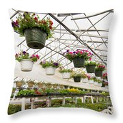 Flowers Growing In Foil Hothouse Of Garden Center Throw Pillow