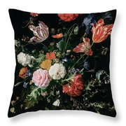 Flowers In A Glass Vase, Circa 1660 Throw Pillow