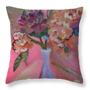 Flowers In A Lavender Vase Throw Pillow