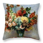 Flowers In A Vase Throw Pillow by Pierre-Auguste Renoir