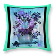 Flowers In A Vase With Blue Border Throw Pillow