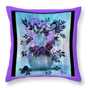Flowers In A Vase With Lilac Border Throw Pillow