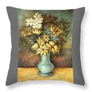 Flowers In Blue Vase - Still Life Oil Throw Pillow