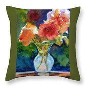 Flowers In Glass Vase Throw Pillow