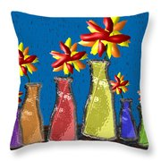 Flowers In Glass Vases Throw Pillow