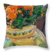 Flowers In Ornate Vase Throw Pillow