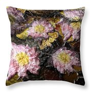 Flowers In Pool Of Autumn Leaves Throw Pillow