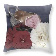 Flowers In Silver Throw Pillow