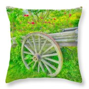 Flowers In A Wagon Throw Pillow