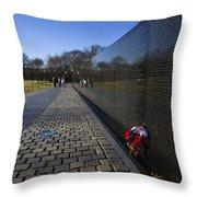 Flowers Left At The Vietnam War Memorial Throw Pillow