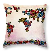 Flowers Map  Throw Pillow