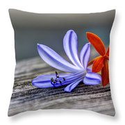 Flowers Of Blue And Orange Throw Pillow