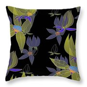 Flowers On Black Throw Pillow
