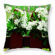 Flowers On Fence Throw Pillow