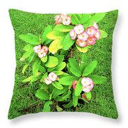 Flowers On Green Throw Pillow
