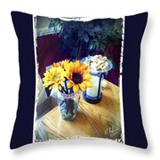 Flowers On Table Throw Pillow