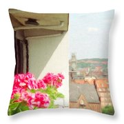 Flowers On The Balcony Throw Pillow