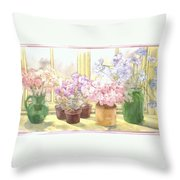 Flowers On The Windowsill Throw Pillow by Julia Rowntree