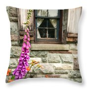 Flowers Stone And Old Country Window Throw Pillow