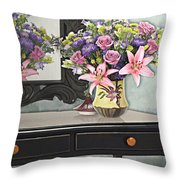Flowers Table And Mirror In The Foyer Still Life Throw Pillow