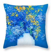 Flowers With Blue Background Throw Pillow