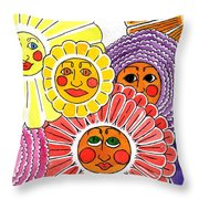 Flowers With Faces Throw Pillow