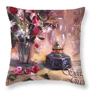 Flowers With Lantern Christmas Card Throw Pillow