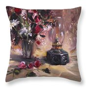 Flowers With Lantern Throw Pillow