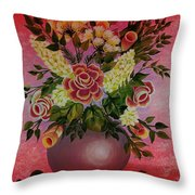 Flowers With Red Background Throw Pillow