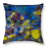 Flowing River Water And Rocks Colorful Abstract Painting Throw Pillow